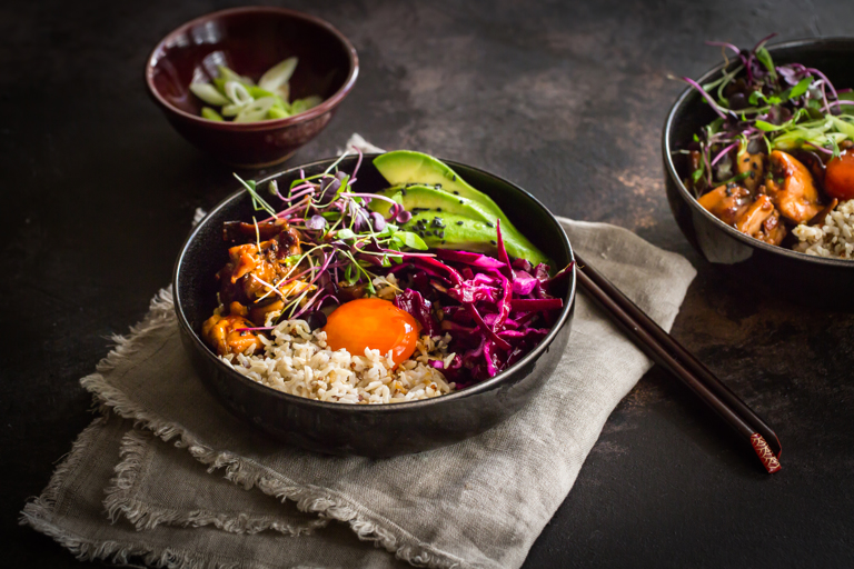 Chicken donburi with soy cured egg and pickled cabbage