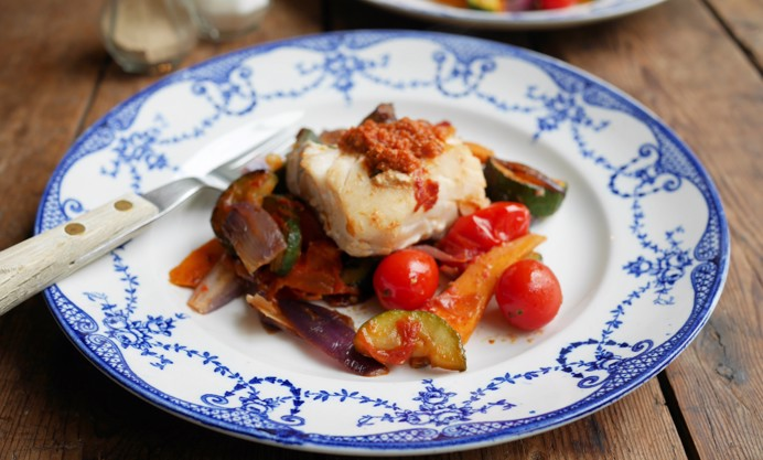 Top with red pesto