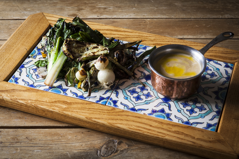 Chargrilled seasonal vegetables with cheese and mushroom fondue
