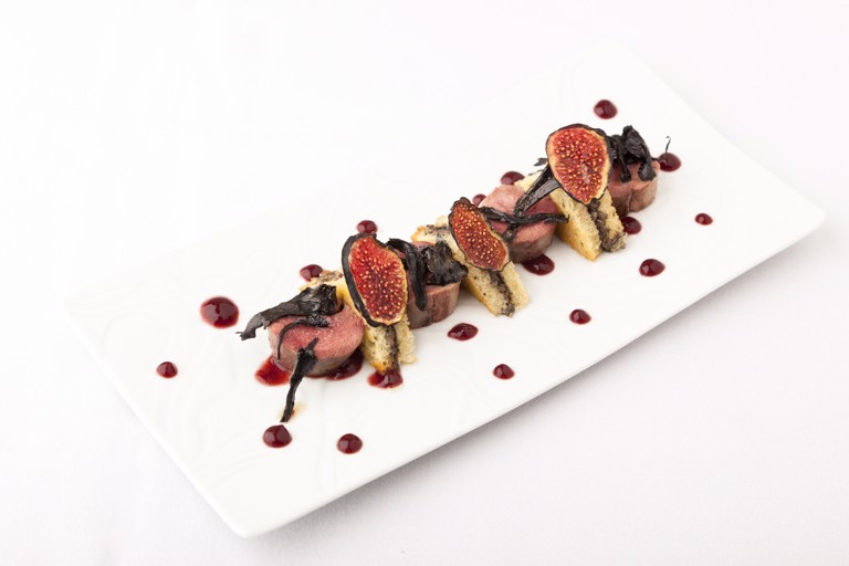 Grouse, fried brioche and fig purée
