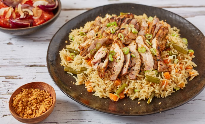 Coconut rice with grilled chicken suya
