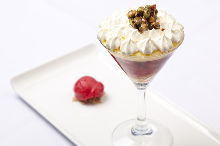 English trifle with a sorbet of Norfolk raspberries and sugared nuts