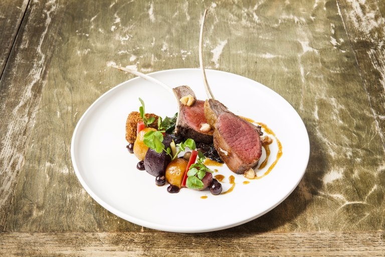 Fallow deer with beetroot and blackcurrants