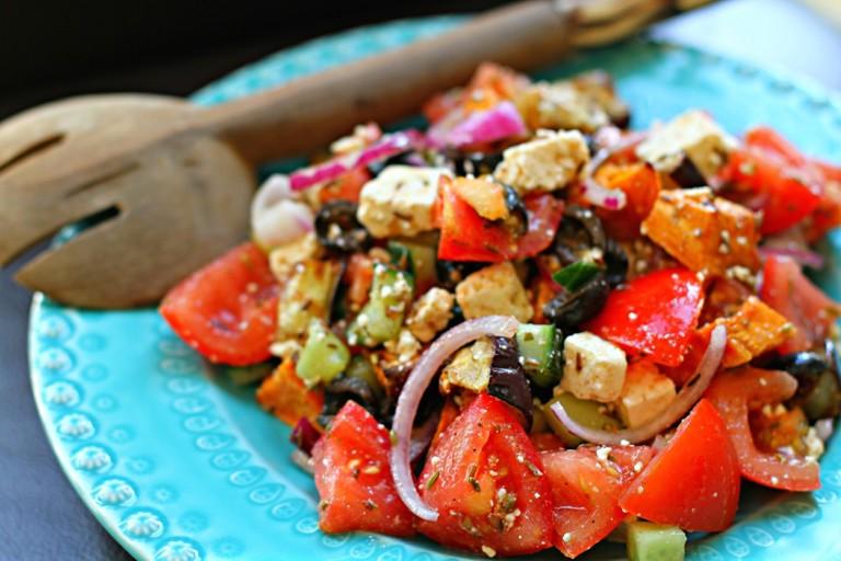 Sweet Greek Salad with Spiced Feta recipe