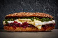 Brie, red cabbage and pistachio pesto sandwich