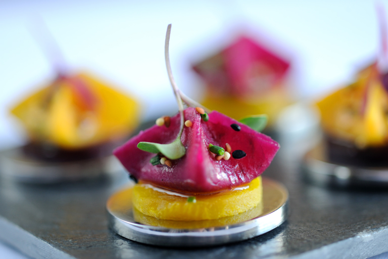 Goat's curd and beetroot samosa