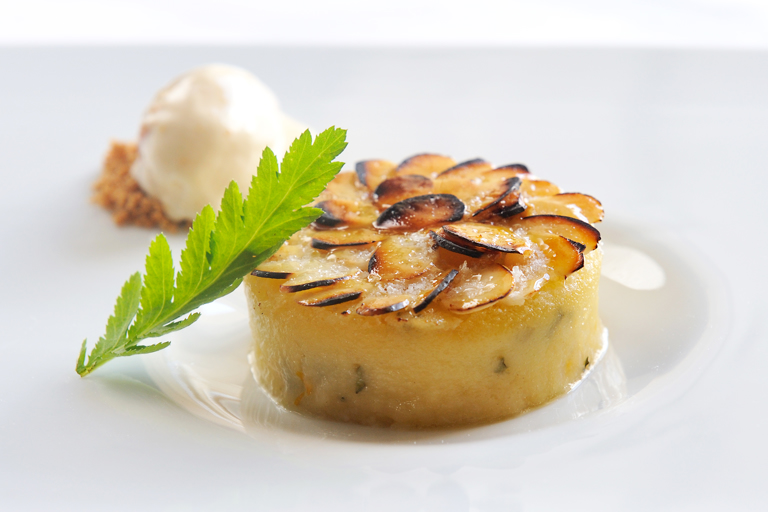 Rose and almond tansy pudding with butternut squash ice cream