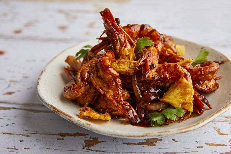 Sweet and sour whole prawns