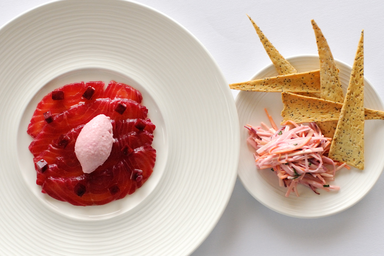 Beetroot cured salmon, salmon pâté, root vegetable salad and thyme crackers