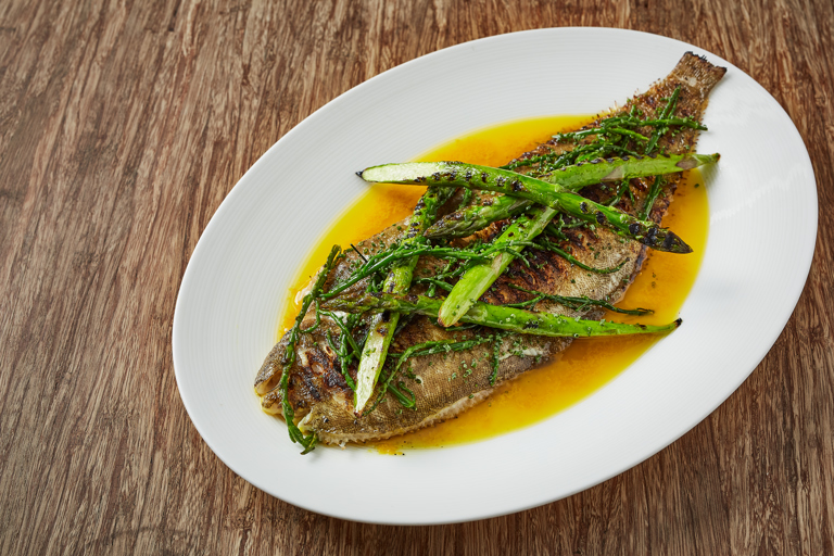 Grilled Dover sole with yuzu butter