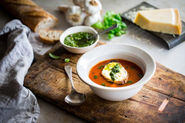 Tomato soup with pesto and mozzarella toast