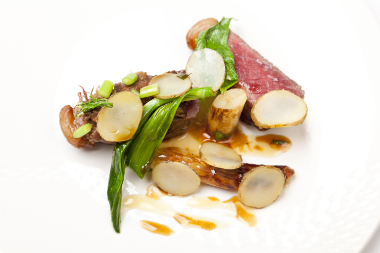 Beef sirloin with white asparagus, Solomon's seal, craft ale