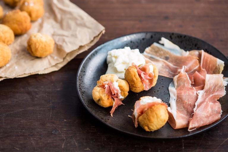Coccoli with Stracchino and Prosciutto Crudo