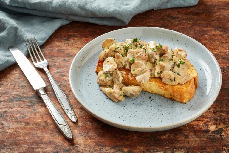 Creamy dijon mushrooms on toasted brioche