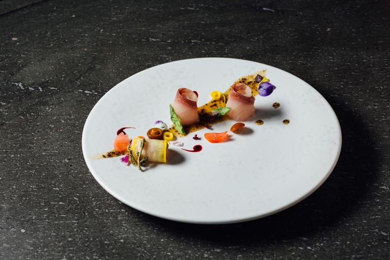 Hamachi usuzukuri – yellowfin sashimi with truffle and pepper sauce