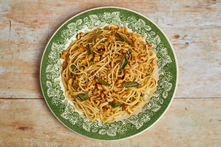 Brown butter, lemon and walnut pasta