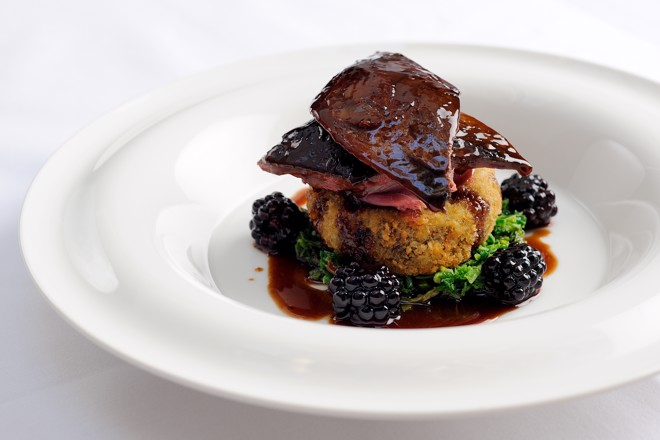 Roast grouse with blackberries and port wine jus