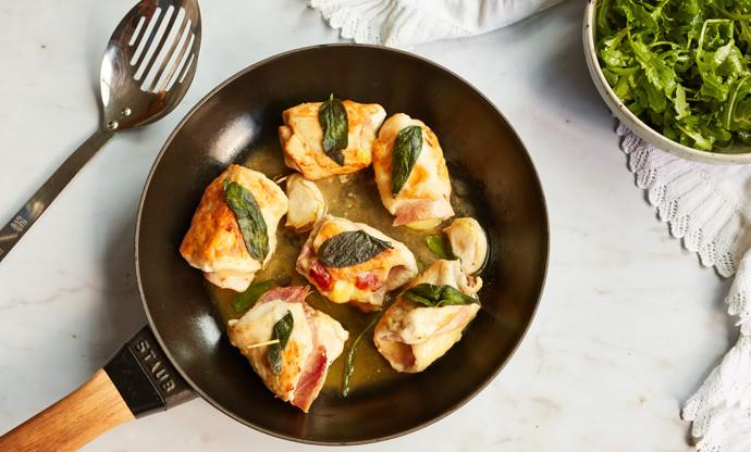 Involtini con prosciutto e fontina – Chicken and ham involtini