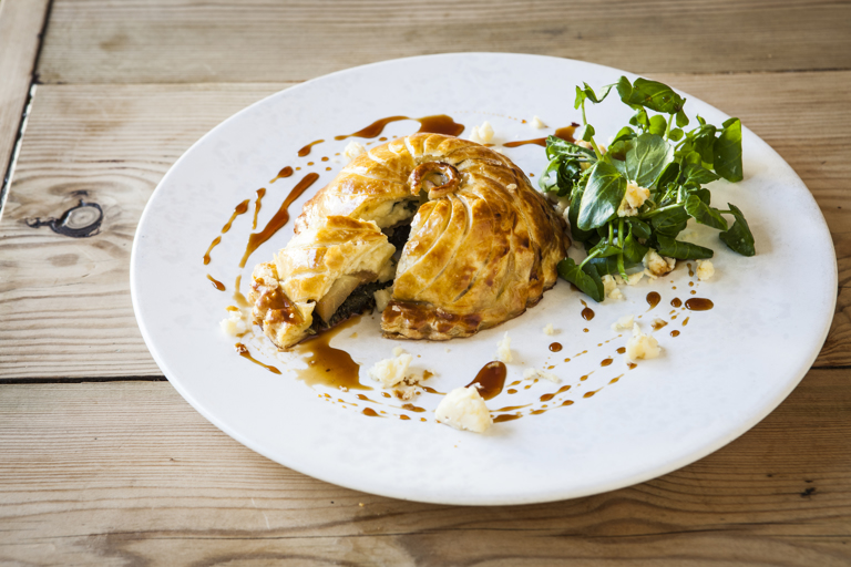 Lancashire cheese, spiced pear and kale pithivier