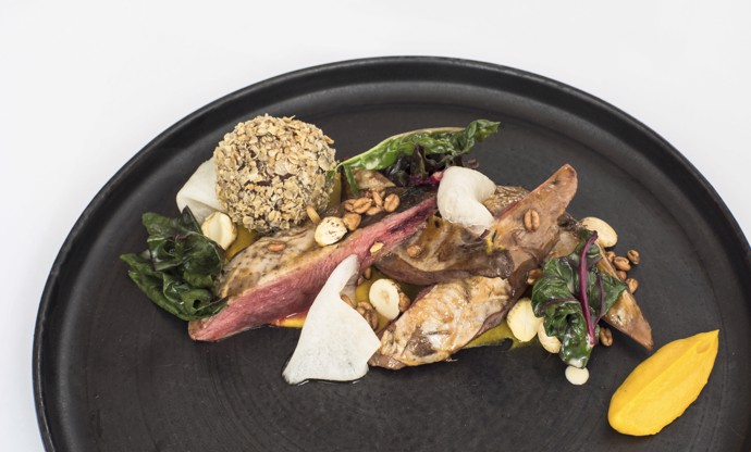 Pine-scented grouse with cobnuts, haggis, neeps 'n' tatties