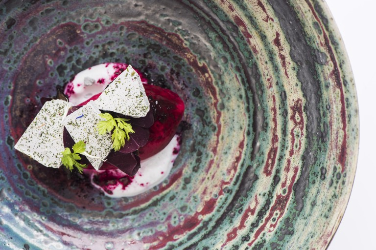 Beetroot sherbet, lavender foam and walnut