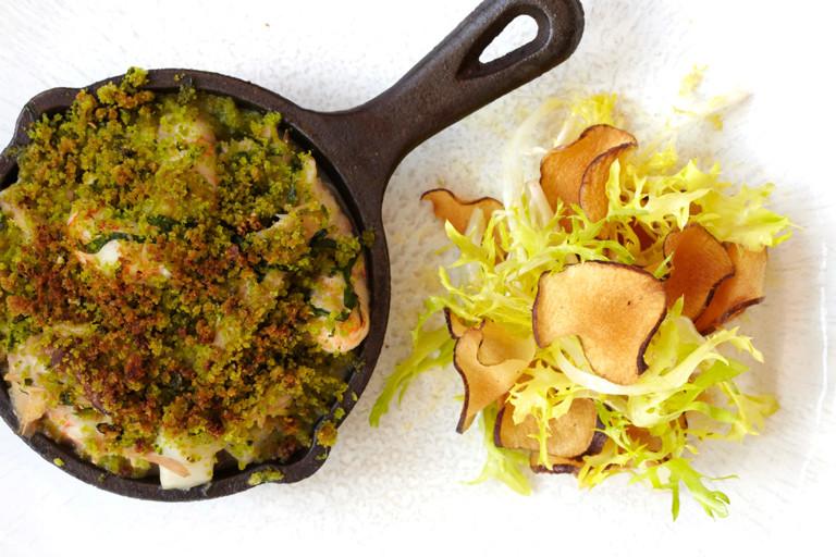 Wild rabbit, langoustine and Jerusalem artichoke crumble with wild garlic crust