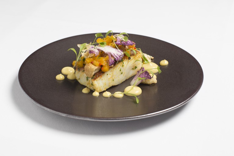 Spiced cod with curried cauliflower and mango