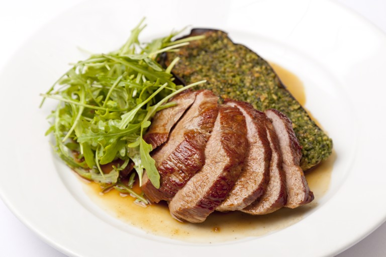 Rump of Welsh Lamb with baked aubergine and pesto
