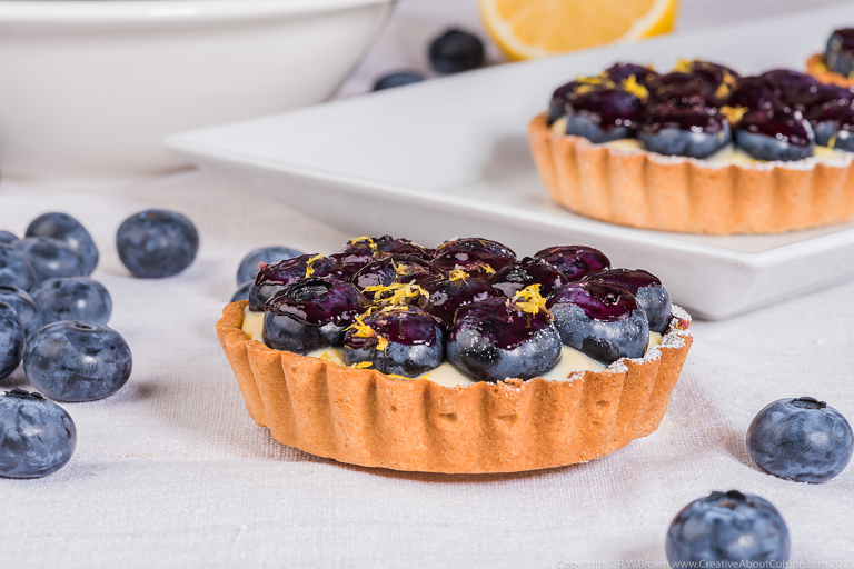 Blueberry and lemon custard tart