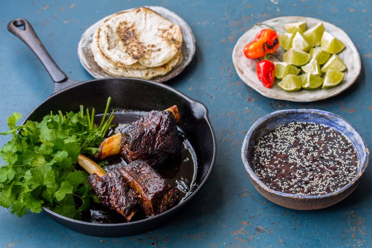 Beef short rib birria, black beans, chipotle jus