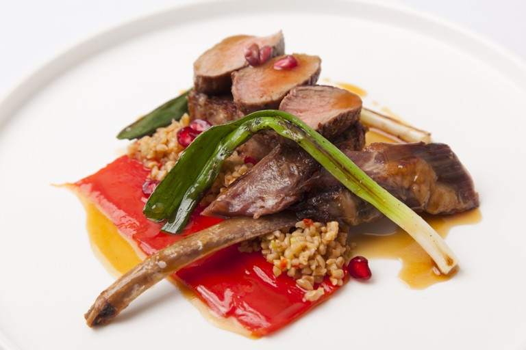 Braised shoulder of goat with pan-fried loin and Moroccan flavours