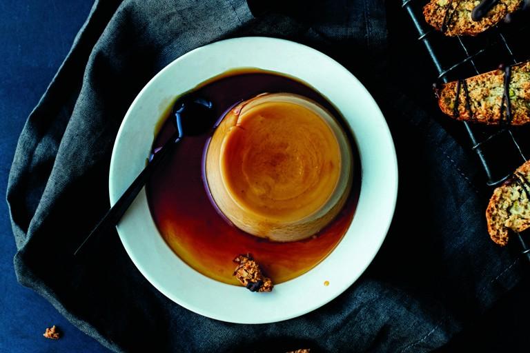 Espresso creme caramel with pistachio biscotti