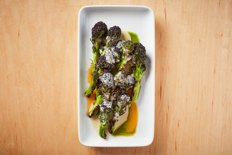 Purple sprouting broccoli with fermented tofu