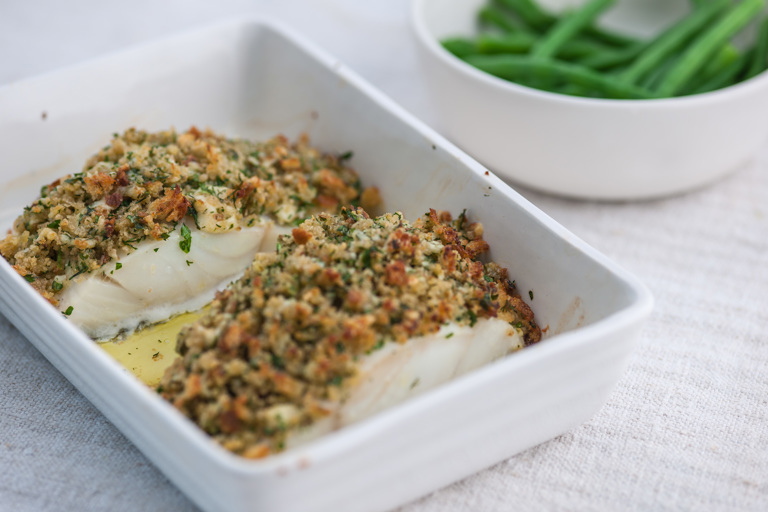 Pollock with cheddar and herb crust