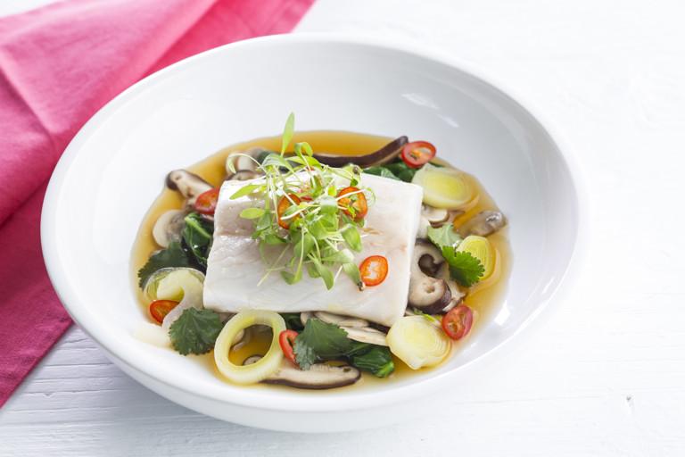 Sea bass with Japanese mushroom broth