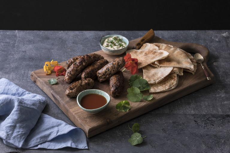 Lamb and nasturtium koftas with chippy sauce