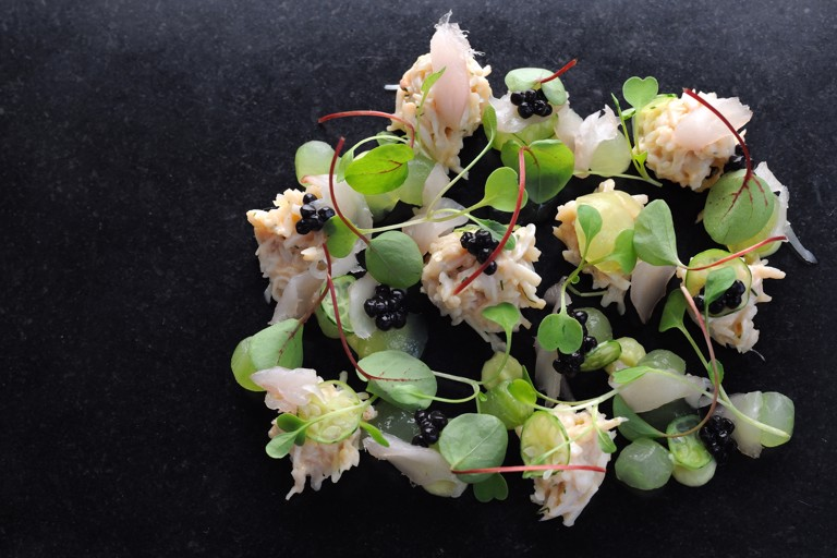Crab salad, mackerel tartare, cucumber and avocado