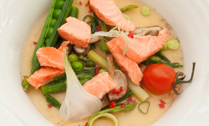 Poached Fjord Trout in asparagus, garlic and ginger broth