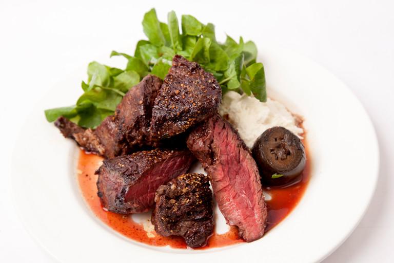 Onglet steak, pickled walnuts and horseradish