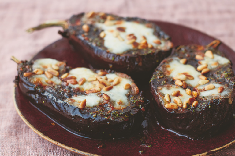 Cheese and sweet chermoula aubergines