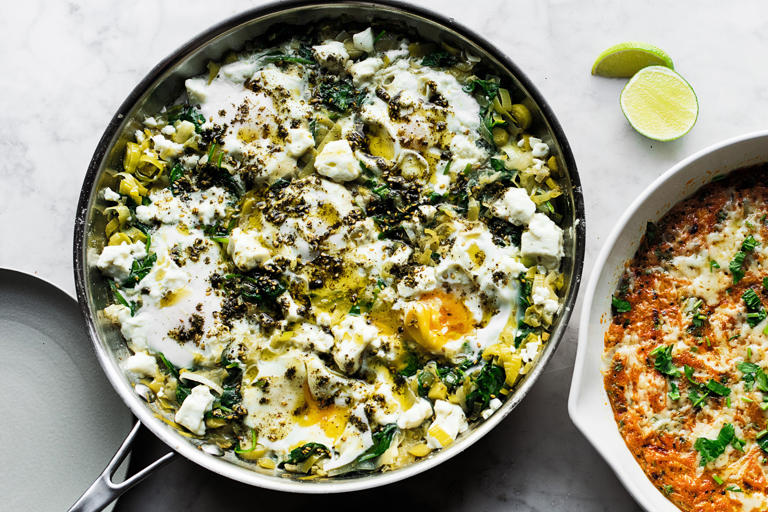 Braised eggs with leeks and za'atar