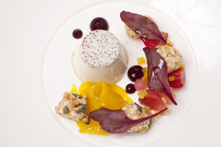 Mustard panna cotta with heritage beetroot and goat's cheese crumble