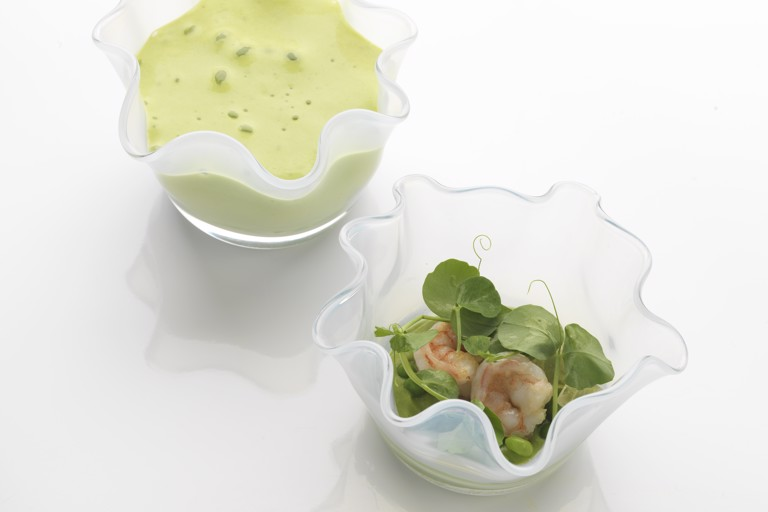 Pea and prawns with dashi jelly