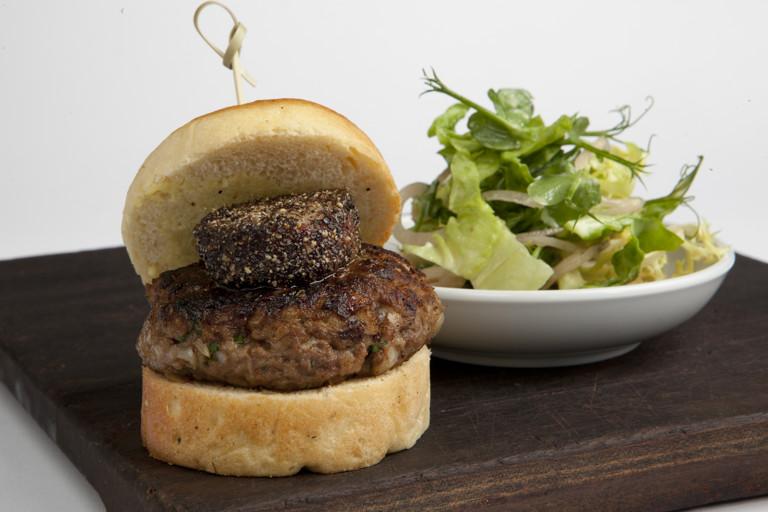 Hand-chopped rump steak burger with peppered bone marrow