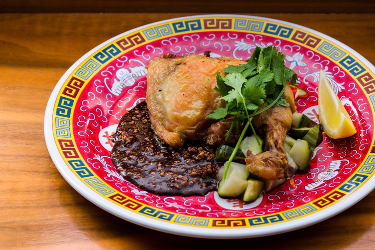 Chicken-fried chicken with pickled cucumber and peanut soy