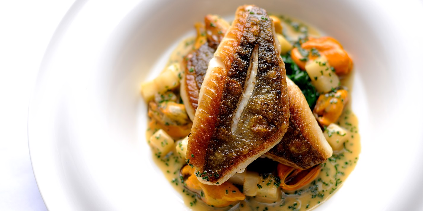 Roasted John Dory with Norfolk mussels, celeriac, apples and chives