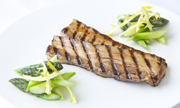 Barbecued Meantime Pilsner-marinated free-range pork belly with English asparagus salad