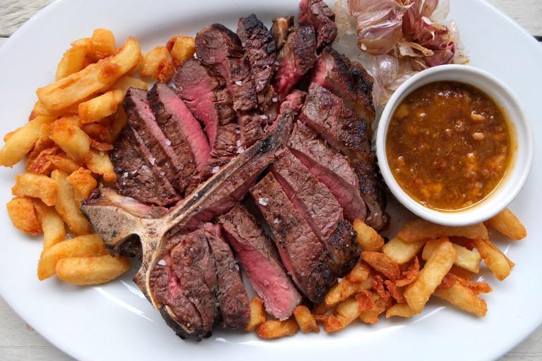Porterhouse steak with beer and bone marrow sauce
