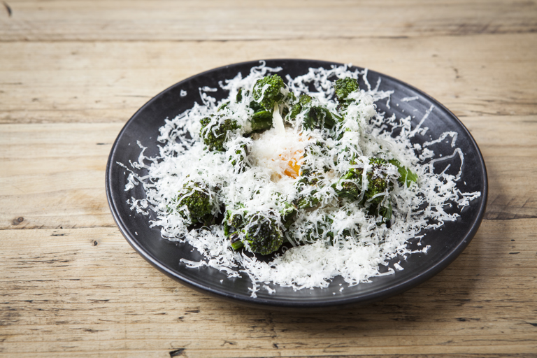 Purple sprouting broccoli, confit egg yolk, swede remoulade, Berkswell cheese