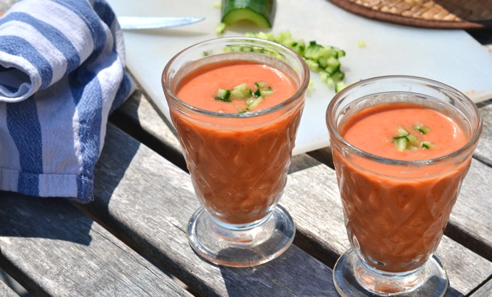 Piccolo tomato and watermelon gazpacho